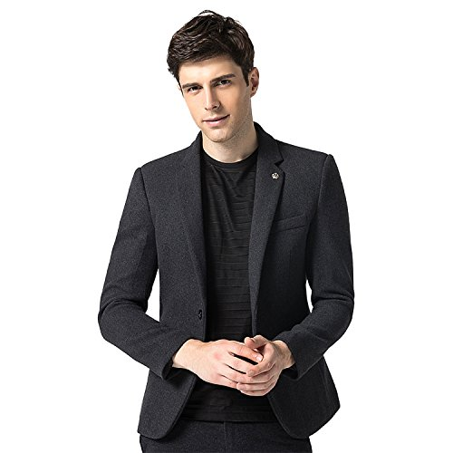 Finrosy Men's Slim Fit Blazer Jacket One Button Center Vent Flap Pockets Solid Casual Suits (Gray,2XL) Center Flap