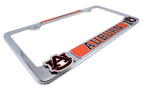 Logo Tigers Plate Auburn License - Premium NCAA Mascot License Plate Frame w/Dual 3D Logos (Auburn)