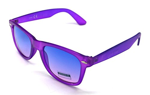Hombre Espejo Sol Sunglasses Traslucido Mujer Wayfarer Gafas Morado de BxTn5E