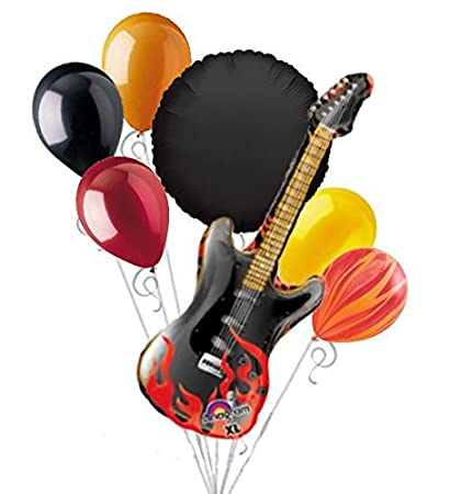 Amazon Com 7 Pc Rockstar Rock On Happy Birthday Balloon Bouquet