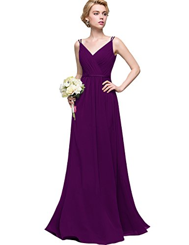 Women's V-Neck Bridesmaid Dress Long Chiffon A-line Formal Wedding Evening Party Gown (Plum,4)