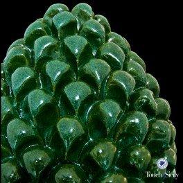 Touch of Sicily, Italian Handmade Ceramic - Ornamental Pine Cone, Green.
