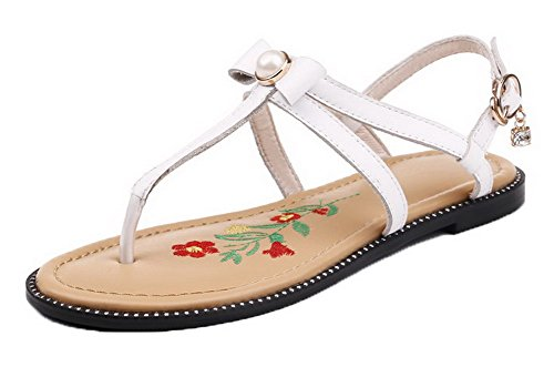 WeiPoot Women's Pu Split-Toe Low-Heels Pull-On Solid Sandals, White, 39