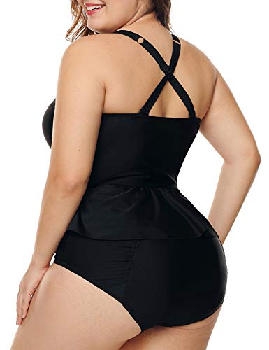 738cc5fb51 CILKOO Women's Plus Size Adjustment Strap Cross Back Peplum Tankini  Swimsuits Two Piece Bathing Suit with