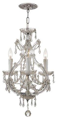 4473-CH-CL-MWP Maria Theresa 4LT Convertible Fixture Polished Chrome Finish with Clear Hand Cut Crystal