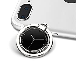 HaloVa Finger Ring Stand, Creative Fashion Clock Phone Ring Holder, Universal Nonslip Metal Phone Ring Stand for iPhone Samsung etc, 360°Rotatable, 180°Folded, Silver