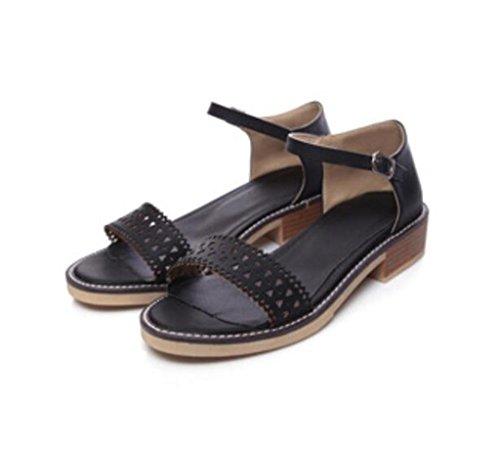Sandalias Hebilla Verano 5cm de Señoras NVLXIE 5 black Ocio Toe Cinturón Dew Las Dulce Estudiantes Permeabilidad Confortable FdB1qnfgwx