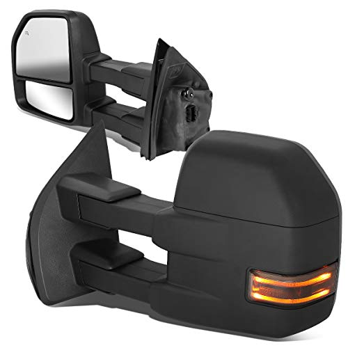 DNA Motoring TWM-058-T666-BK-SM Powered w/LED Turn Signal Side Towing Mirror Replacement