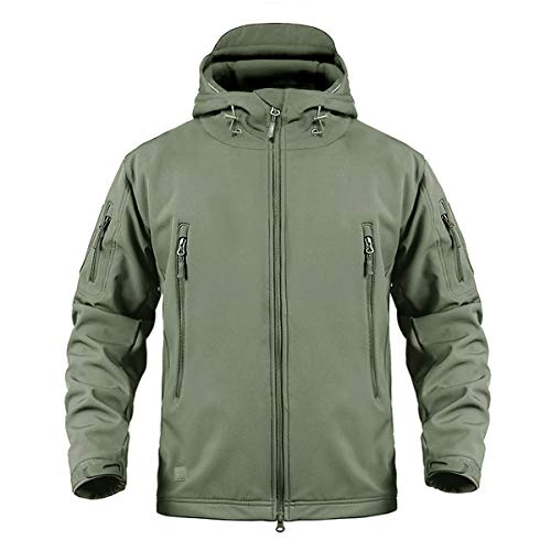CRYSULLY Mans Multi-Pocket Outdoor Softshell Tactical Jackets Windproof Jacket Army Green ()