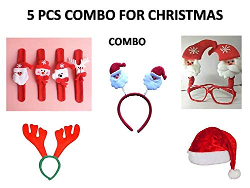 Party-Hut 5 Pcs Christmas Combo 1 pc Santa Cap,1 pc Santa Wrist Band,1 pc Santa Glasses,1 pc Santa Hairband and 1 pc Reindeer Hairband