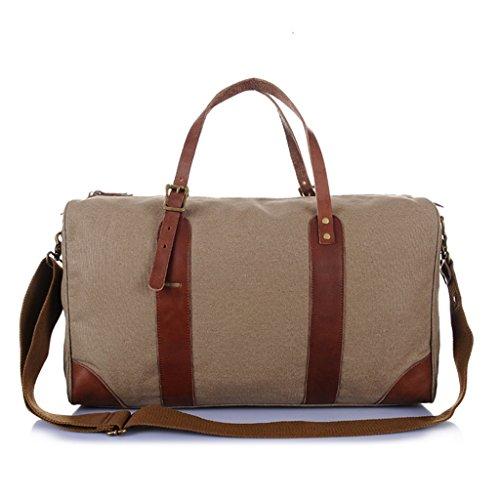 Sucastle Canvas bag luggage bag handbag shoulder bag Messenger bag travel bag Sucastle Colour:Shallow army green Size:51x31x21cm