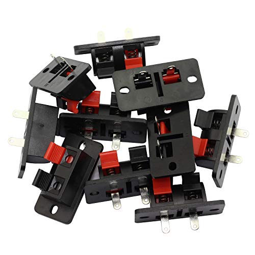 Magic&shell 10PCS 2 Way 2 Pin Stereo Speaker Plate Push Release Connector Terminal Strip Block 2 Position