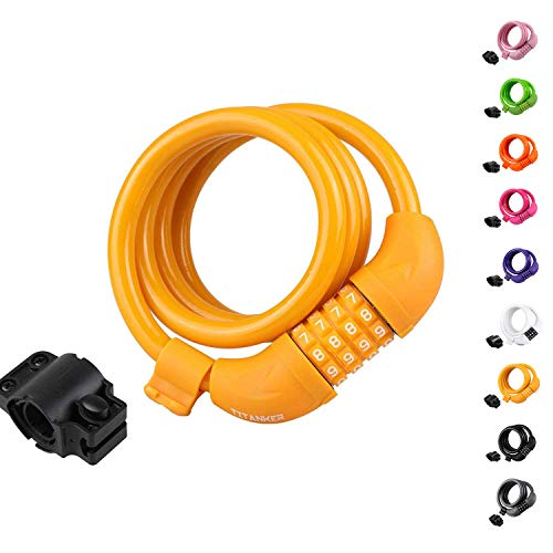 Titanker Bike Lock, Bike Locks Cable 4 feet Coiled Secure Resettable Combination or Keys Bike Cable Lock with Mounting Bracket, 1/2 Inch Diameter (Baby Orange(4 feet))