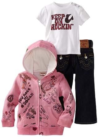 True Religion Baby-Girls Infant 3 Piece Box Set, Berry, 12-18 Months