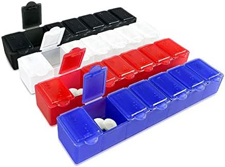 7 Day Pill Box with Snap Close Lids - Weekly Pill Organizer 4 Times a Day or 28 Day Dispenser - Comes with 4 Separate 7 Day Pill Containers for Vitamins, Supplements, and Medicine