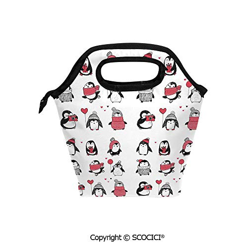 Printed Pattern Portable Lunch Tote Bag Cute Penguins Hand Drawn Style Set Merry Christmas Greetings Babies Kids Toddler insulation cold outdoor picnic lunch box bag.