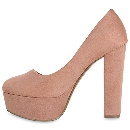 Stiefelparadies Damen Plateau Pumps Blockabsatz High Heels Veloursleder-Optik Schuhe Abendschuhe Lack Plateauschuhe Flandell Khaki Brooklyn