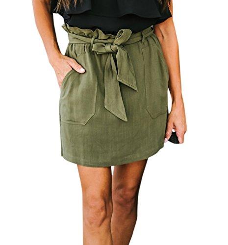 t Femme Jupe avec Bandage Casual Court Jupe de Plage Fashion Couleur Unie Taille Haute Jupes de Fte Soire Arme Verte