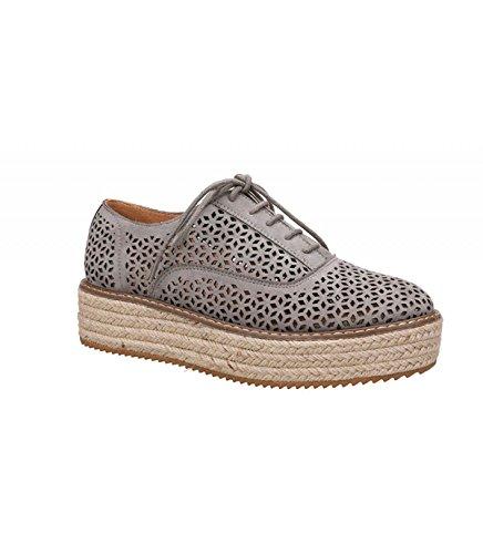 Unbekannt Sneaker - Zapatos de cordones de cuero y tela para mujer gris Gris - Gris 36 LawR0oD1Gh