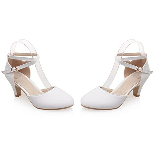 Heels Court TAOFFEN Shoes White Women's Ankle Strap nffFvZg8