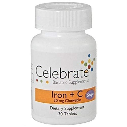 Celebrate Vitamins - Iron + Vitamin C - 30mg - Chewable - Grape - 30 Tablets