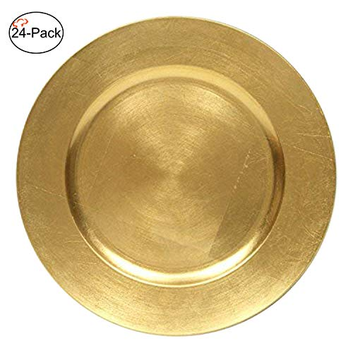 Tiger Chef 13-Inch Gold Metallic Charger Plates, Set