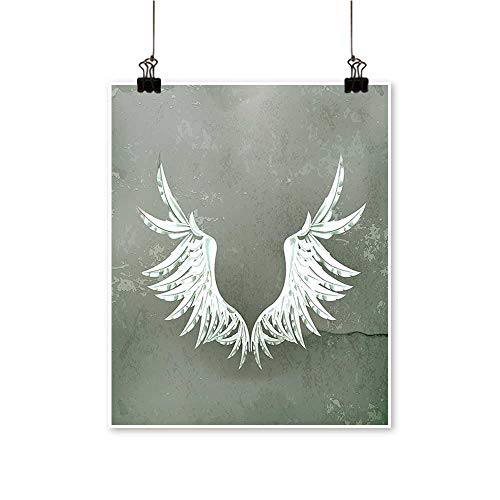 Canvas Wall Art Old Fashi Coat Arms Wings in Cracked Dirty Wall Royal Insignia Grey for Bathroom Home,32
