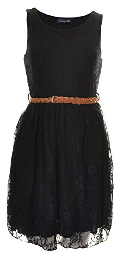 Buy belted black skater dress - 8