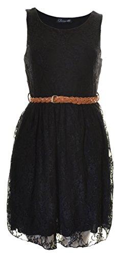 Buy belted black lace dress - 9