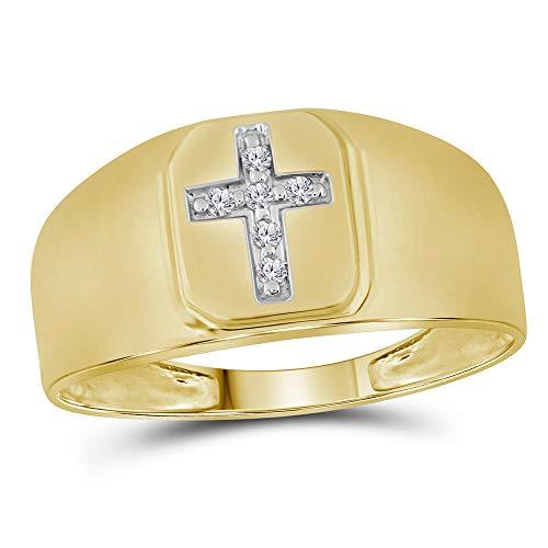 14k Yellow Gold Diamond Mens Brushed Christian Cross Band Ring 1/20 ct