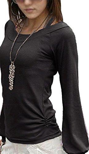 Mississhop, hergestellt in EU - Camiseta de manga larga - Básico - redondo - Manga Larga - para mujer 1-Schwarz