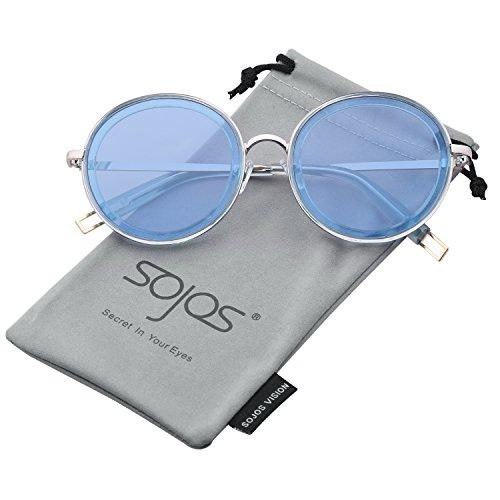 SojoS Oversized Round Metal Frame Sunglasses Flat Lens UV400 Protection SJ1076 With Blue Frame/Blue - Lenses Uv400