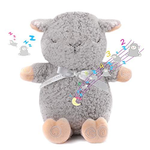 Lekooky Baby Travel Size Sleep Sheep Plush - White Sound Machine & Night Glow - in Trendy Grey (Sleep Sheep Sound Machine)