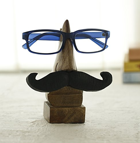 Funny Eyeglass Holder With Mustache.  Fun and Practical Wooden Spectacle Stand Quirky Nose and Mustache Shaped Handmade Display Glasses - Spectacles Wooden