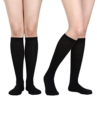 Satinior Women Knee High Socks Soft Boot Socks Cosplay Socks for Party, Halloween, School, One Size (Black, 2 Pack) ()