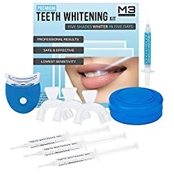 M3 Naturals Professional Teeth Whitening Kit with LED Light No Pain or Sensitivity 22% Carbamide Peroxide Gel Safe At Home Whitener Oral Remove Stains Mouth Trays Retainer Case