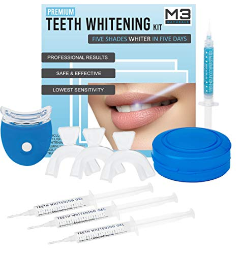 Whitening Smile System (M3 Naturals Teeth Whitening Kit with LED Light Professional Stain Remover Non Sensitive 35% Peroxide Gel Oral Remineralization Gel Custom Trays Retainer Case 5 …)