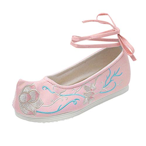 Goddessvan Women's Retro Embroidered Shoes Summer Ankle Strap Lace-Up Flat Shallow Casual Shoes Pink ()