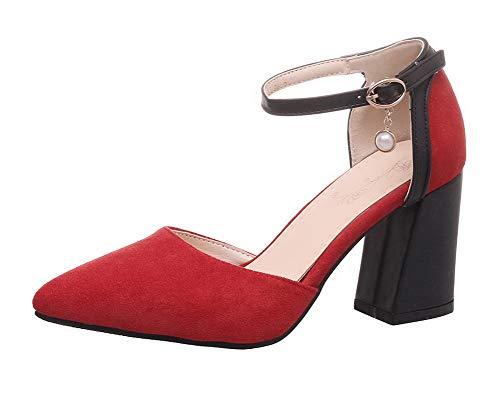 Donna Fbuidd007071 Mucca Rosso Ballet Alto Tacco Di flats Allhqfashion Puro Pelle Fibbia FqvRPWd