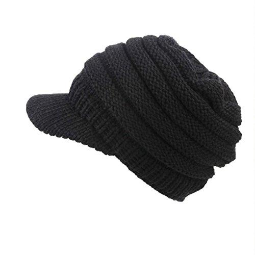 URIBAKE Women Soft Stretch Cable Knit Messy Hat Warm Crochet Wool Ski Skull Slouchy Caps