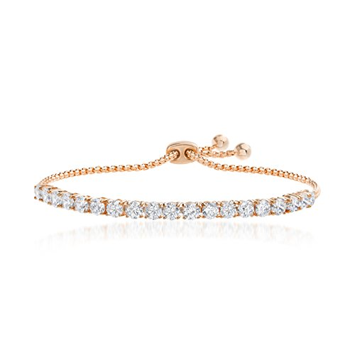 Devin Rose 8 Cttw Cubic Zirconia Adjustable Bolo Bracelet for Women in Rose Gold Plated Brass (4mm Pink)