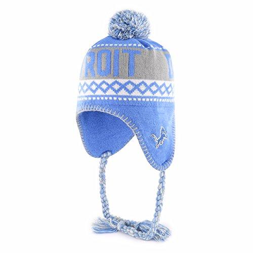 NFL Detroit Lions Adult NFL Abenaki Ots Sherpa Knit Cap with Pom, One Size, Blue Raz ()