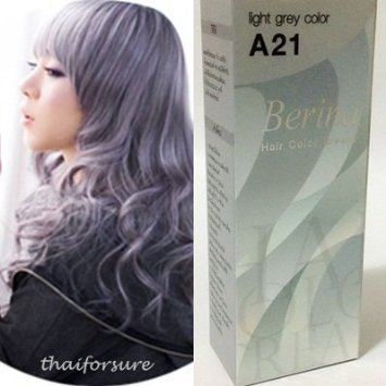 (BERINA PERMANENT HAIR DYE COLOR CREAM #A21 Light Grey COOL HOT CREZY FASHIONS)