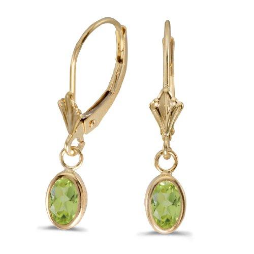 14k Yellow Gold Oval Peridot Bezel Lever-back Earrings