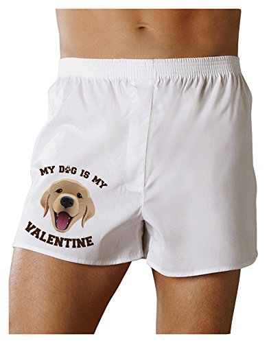 TooLoud My Dog is My Valentine Gold Yellow Boxers Shorts - White - (White Gold Boxer Dog)