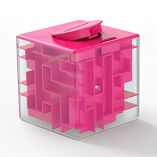 Money Maze Puzzle Box, Sakiyr Money Bank for Kids and Adults Funny Birthday XMAS-Gift (Pink)