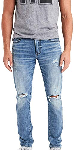 American Eagle Men's Ne(X) t Level Flex Slim Jean, Destroyed Light Wash (33x30)