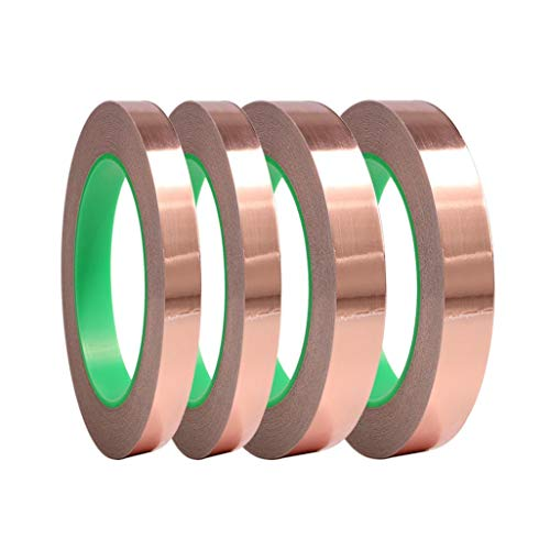 FJCA 4 Pack Copper Foil Tape Double-Sided Conductive Copper Tape for EMI Shielding Paper Circuits(1/4, 1/2 ()