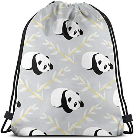 パンダのクマの巾着バックパックバッグレディース&男性スポーツジムバッグ36 x 43 cm
