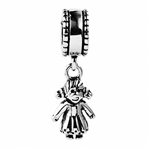 TAOTAOHAS Antique Solid Sterling 925 Silver Charm Dangle Beads [It's Girl] Fit European Bracelet Necklace